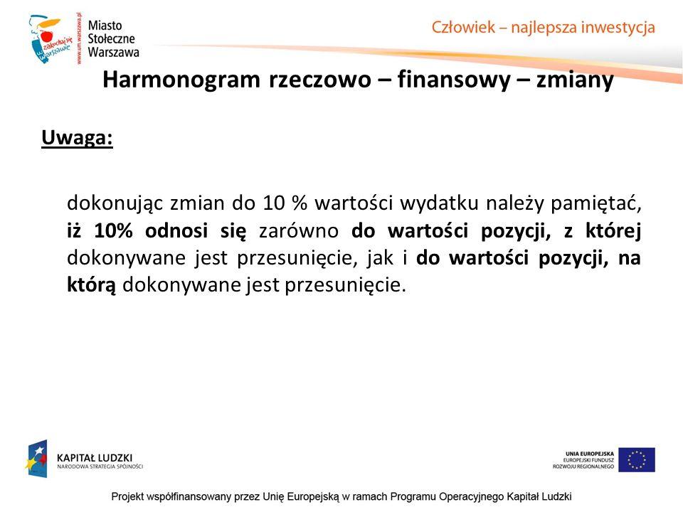 Harmonogram rzeczowo – finansowy – zmiany Uwaga: dokonując zmian do 10 % wartości wydatku należy pamiętać, iż 10% odnosi się zarówno do wartości pozyc