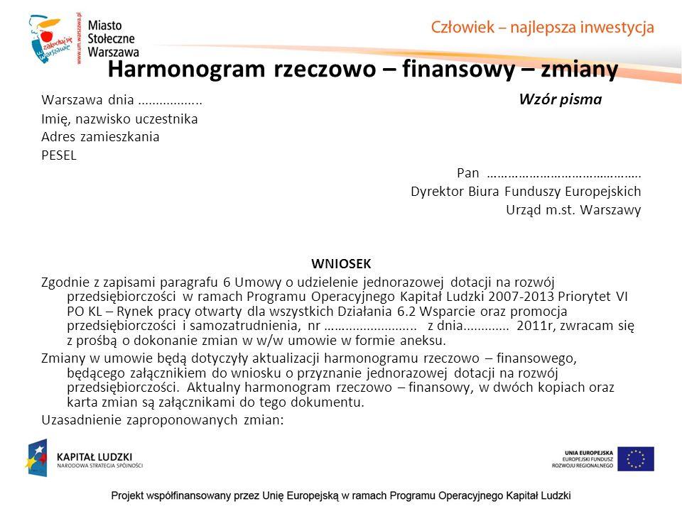 Harmonogram rzeczowo – finansowy – zmiany Warszawa dnia.................. Wzór pisma Imię, nazwisko uczestnika Adres zamieszkania PESEL Pan …………………………