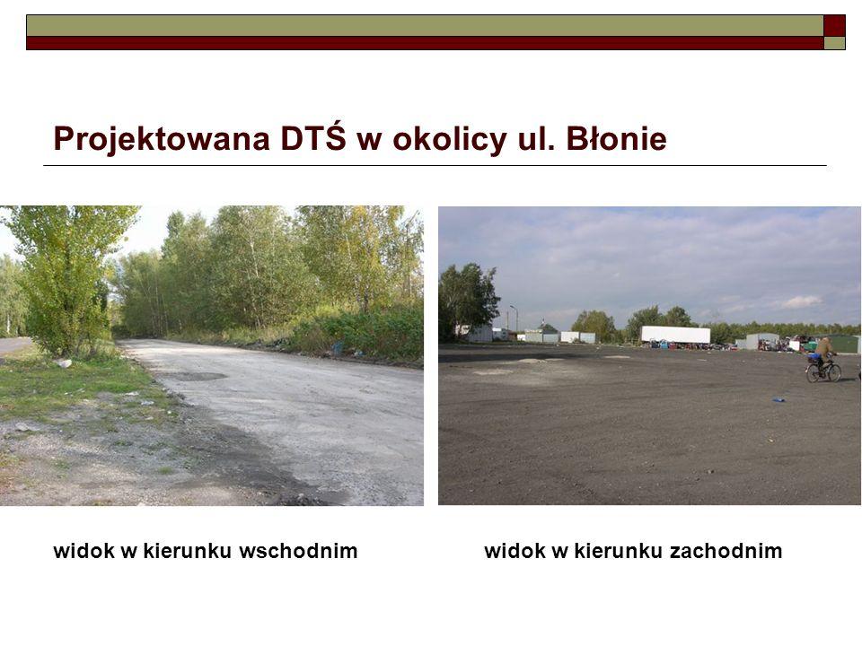 Projektowana DTŚ w okolicy ul. Błonie widok w kierunku wschodnimwidok w kierunku zachodnim