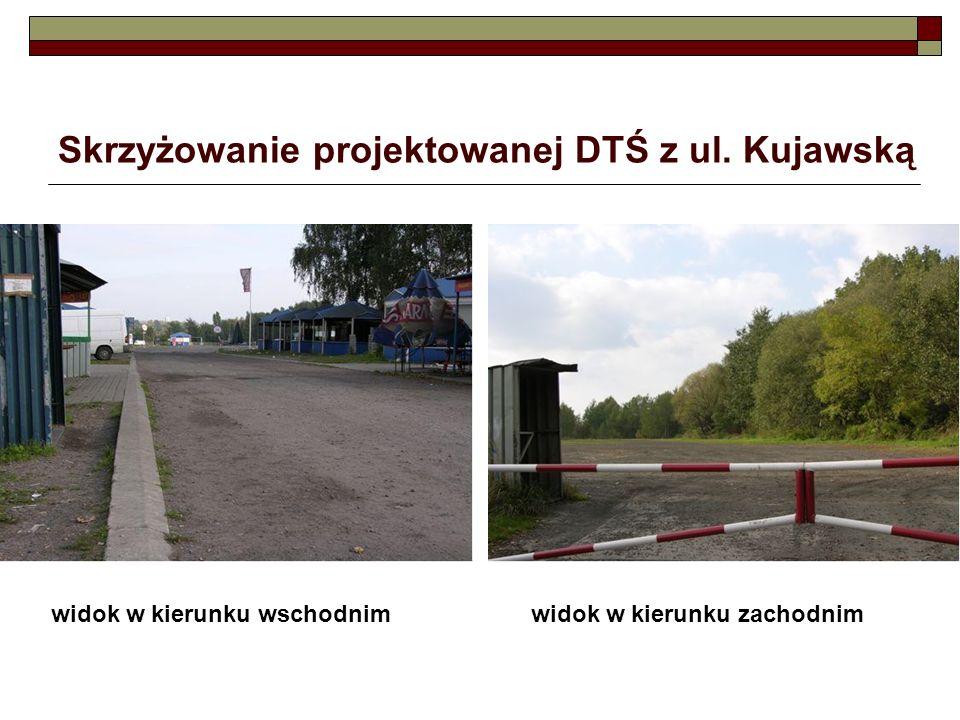 Skrzyżowanie projektowanej DTŚ z ul. Kujawską widok w kierunku wschodnimwidok w kierunku zachodnim