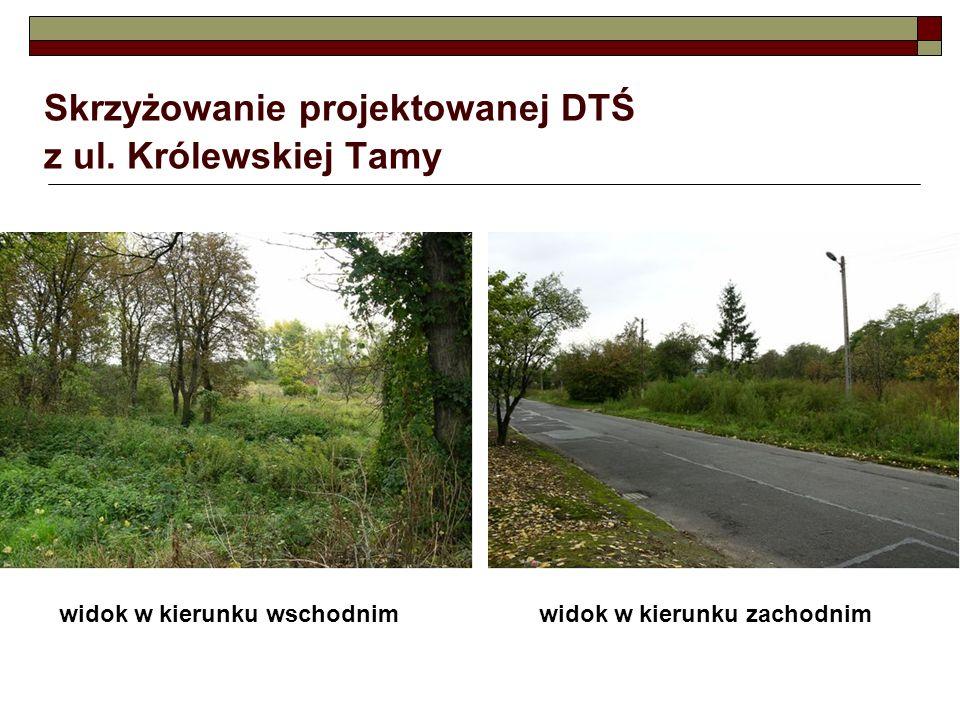 Skrzyżowanie projektowanej DTŚ z ul. Królewskiej Tamy widok w kierunku wschodnimwidok w kierunku zachodnim