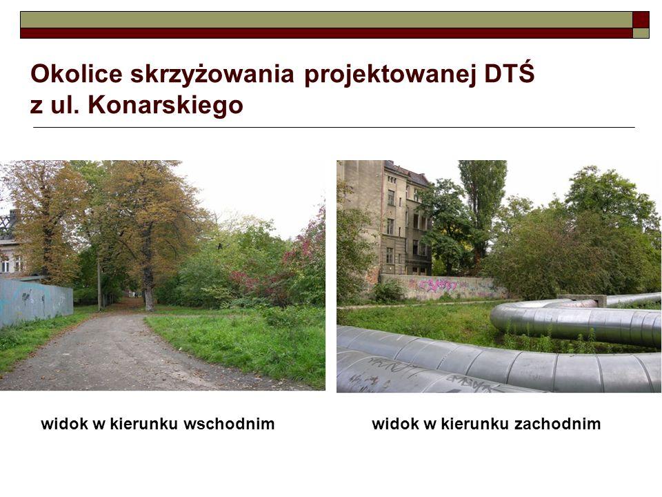 Okolice skrzyżowania projektowanej DTŚ z ul. Konarskiego widok w kierunku wschodnimwidok w kierunku zachodnim