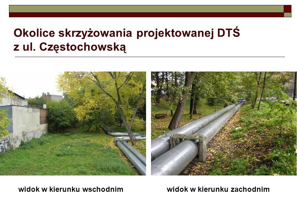 Okolice skrzyżowania projektowanej DTŚ z ul. Częstochowską widok w kierunku wschodnimwidok w kierunku zachodnim