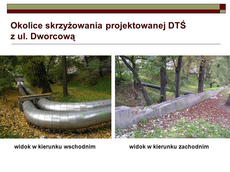 Okolice skrzyżowania projektowanej DTŚ z ul. Dworcową widok w kierunku wschodnimwidok w kierunku zachodnim
