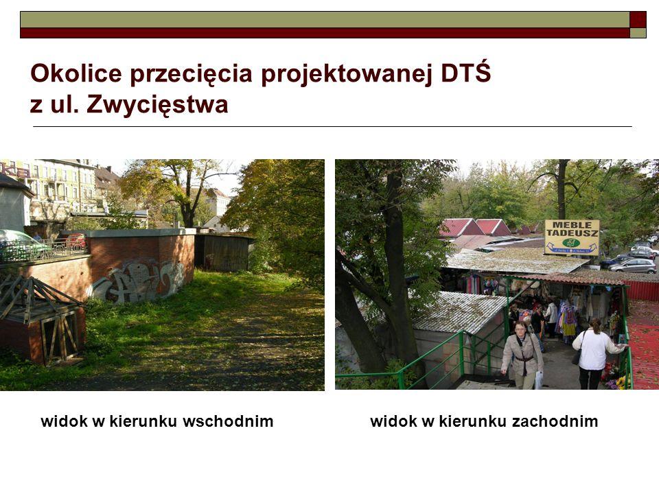 Okolice przecięcia projektowanej DTŚ z ul. Zwycięstwa widok w kierunku wschodnimwidok w kierunku zachodnim