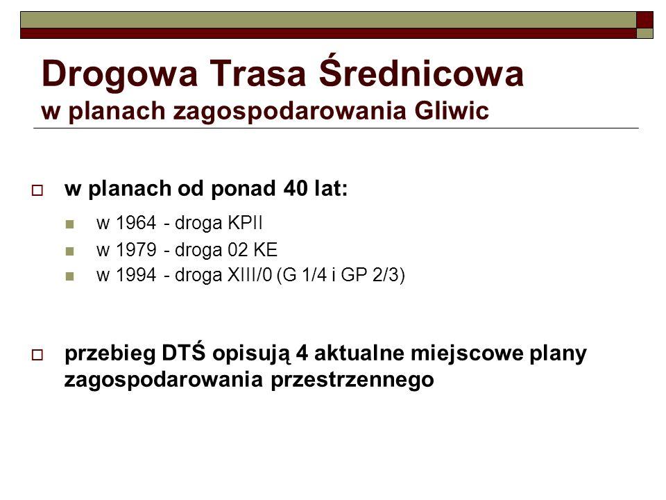 Drogowa Trasa Średnicowa w planach zagospodarowania Gliwic w planach od ponad 40 lat: w 1964- droga KPII w 1979- droga 02 KE w 1994- droga XIII/0 (G 1