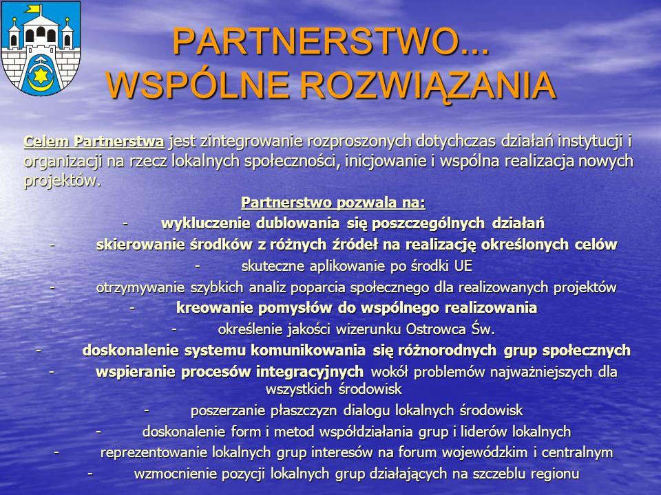 PARTNERSTWO... WSPÓLNE ROZWIĄZANIA Celem Partnerstwa jest zintegrowanie rozproszonych dotychczas działań instytucji i organizacji na rzecz lokalnych s