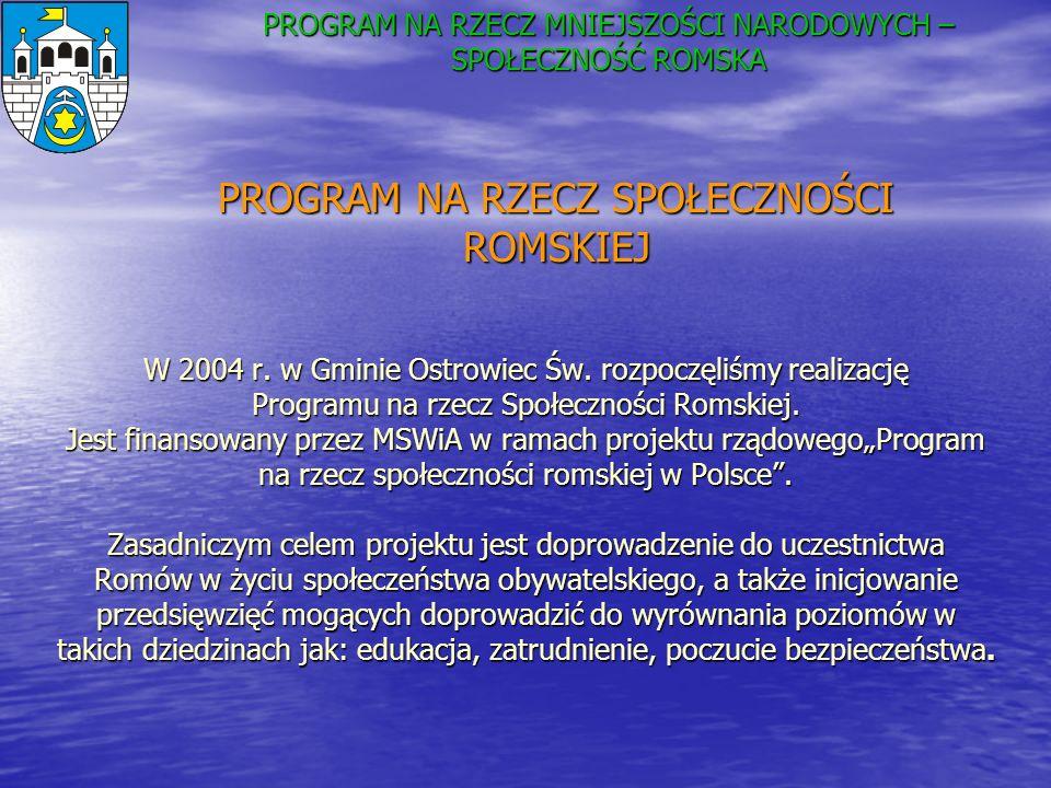 W 2004 r. w Gminie Ostrowiec Św. rozpoczęliśmy realizację Programu na rzecz Społeczności Romskiej. Jest finansowany przez MSWiA w ramach projektu rząd