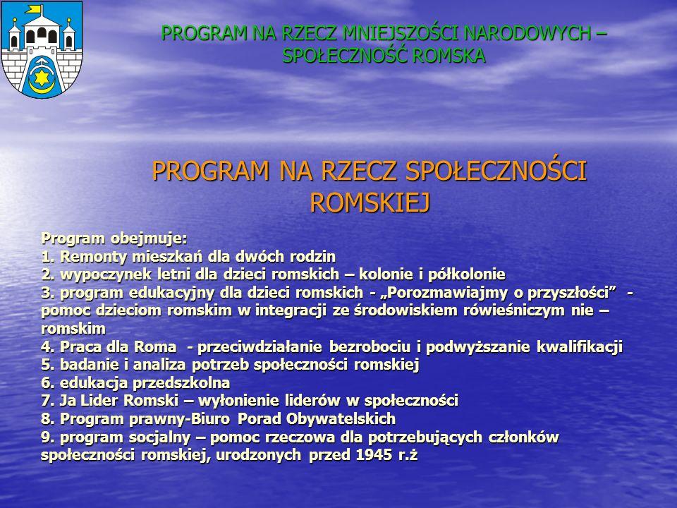 Program obejmuje: 1. Remonty mieszkań dla dwóch rodzin 2. wypoczynek letni dla dzieci romskich – kolonie i półkolonie 3. program edukacyjny dla dzieci
