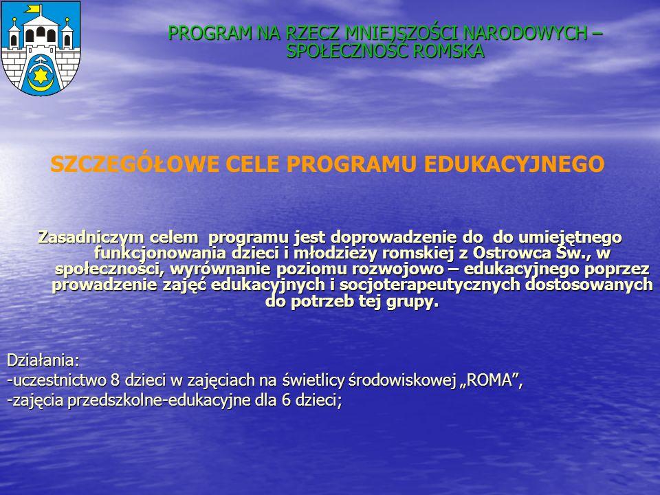 Zasadniczym celem programu jest doprowadzenie do do umiejętnego funkcjonowania dzieci i młodzieży romskiej z Ostrowca Św., w społeczności, wyrównanie