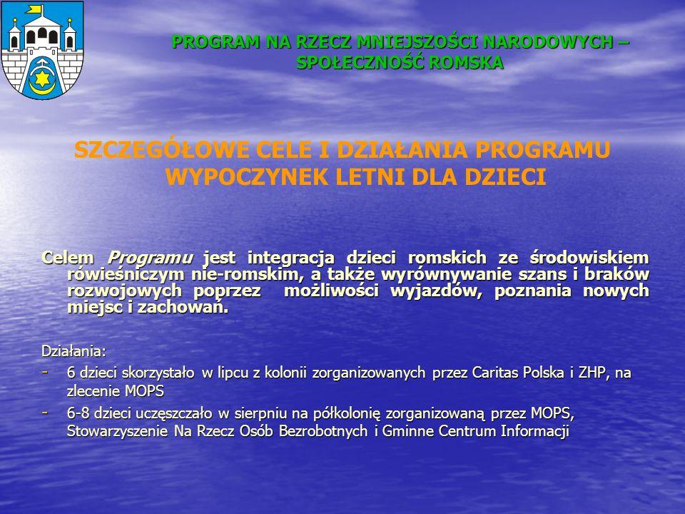 PROGRAM NA RZECZ MNIEJSZOŚCI NARODOWYCH – SPOŁECZNOŚĆ ROMSKA Celem Programu jest integracja dzieci romskich ze środowiskiem rówieśniczym nie-romskim,