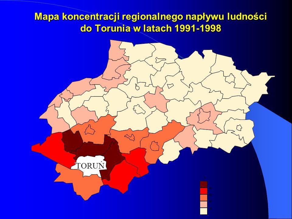 Mapa koncentracji regionalnego napływu ludności do Torunia w latach 1991-1998 TORUŃ