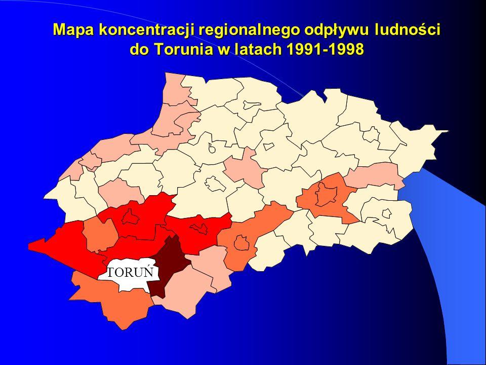 Mapa koncentracji regionalnego odpływu ludności do Torunia w latach 1991-1998 TORUŃ
