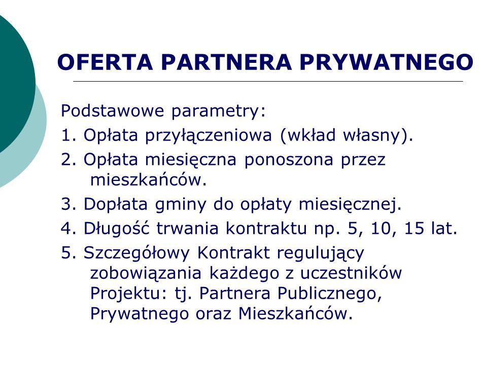 OFERTA PARTNERA PRYWATNEGO Podstawowe parametry: 1. Opłata przyłączeniowa (wkład własny). 2. Opłata miesięczna ponoszona przez mieszkańców. 3. Dopłata