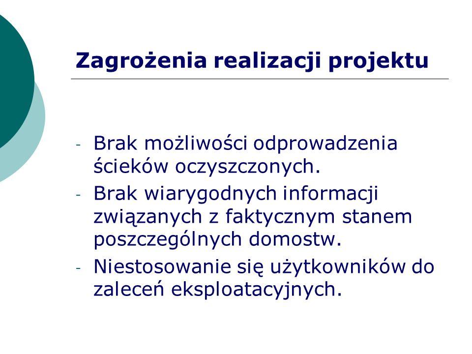 Zagrożenia realizacji projektu - Brak możliwości odprowadzenia ścieków oczyszczonych. - Brak wiarygodnych informacji związanych z faktycznym stanem po