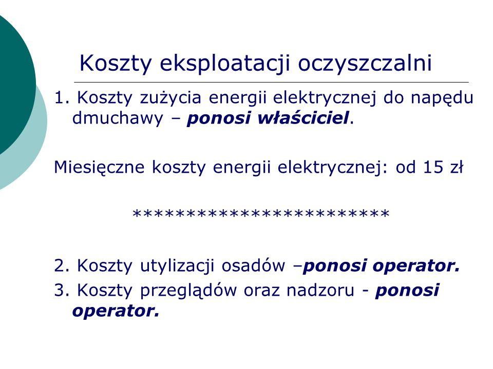 Koszty eksploatacji oczyszczalni 1. Koszty zużycia energii elektrycznej do napędu dmuchawy – ponosi właściciel. Miesięczne koszty energii elektrycznej