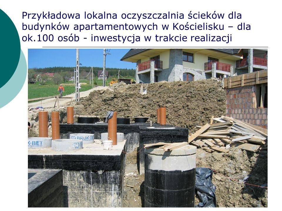Przykładowa lokalna oczyszczalnia ścieków dla budynków apartamentowych w Kościelisku – dla ok.100 osób - inwestycja w trakcie realizacji
