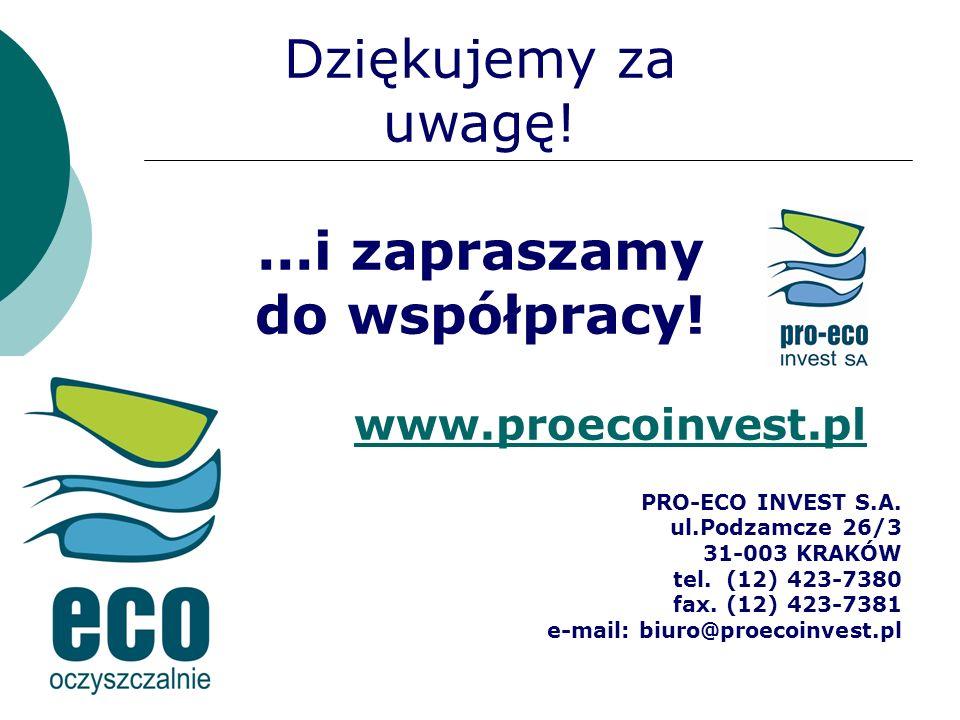 Dziękujemy za uwagę!...i zapraszamy do współpracy! PRO-ECO INVEST S.A. ul.Podzamcze 26/3 31-003 KRAKÓW tel. (12) 423-7380 fax. (12) 423-7381 e-mail: b