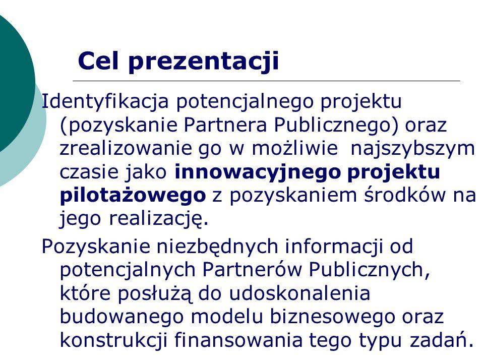 Cel prezentacji Identyfikacja potencjalnego projektu (pozyskanie Partnera Publicznego) oraz zrealizowanie go w możliwie najszybszym czasie jako innowa