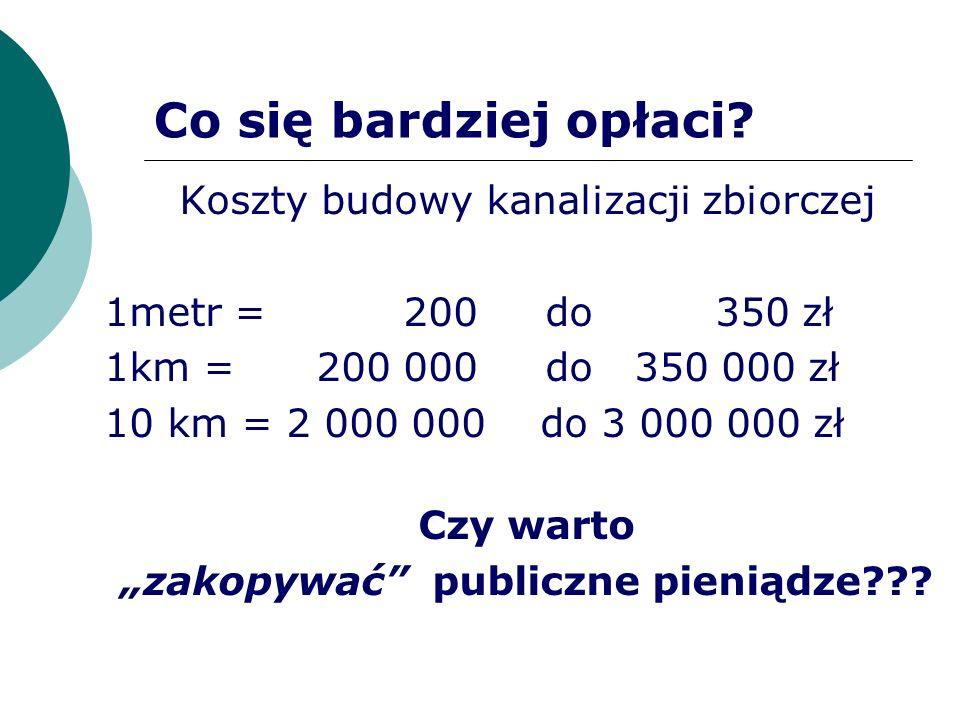 Co się bardziej opłaci? Koszty budowy kanalizacji zbiorczej 1metr = 200 do 350 zł 1km = 200 000 do 350 000 zł 10 km = 2 000 000 do 3 000 000 zł Czy wa