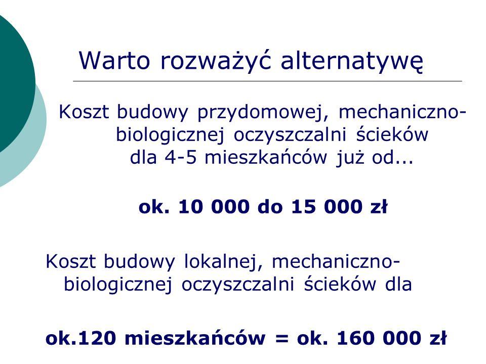 Warto rozważyć alternatywę Koszt budowy przydomowej, mechaniczno- biologicznej oczyszczalni ścieków dla 4-5 mieszkańców już od... ok. 10 000 do 15 000