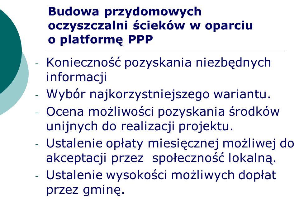 Budowa przydomowych oczyszczalni ścieków w oparciu o platformę PPP - Konieczność pozyskania niezbędnych informacji - Wybór najkorzystniejszego wariant