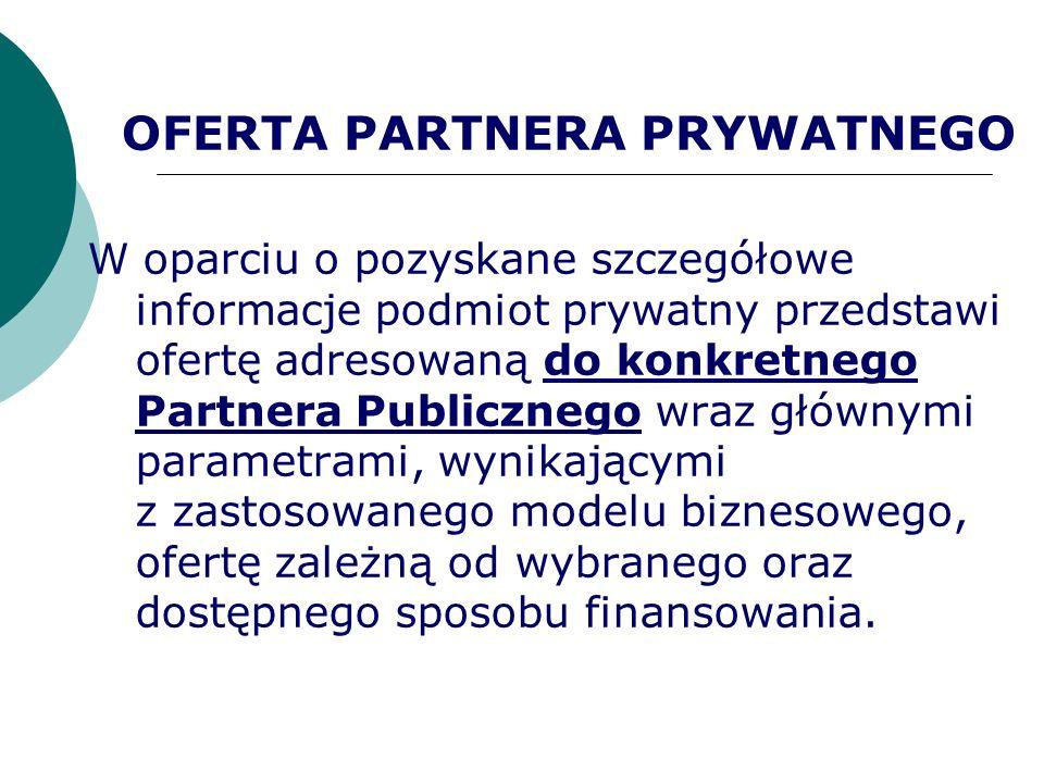 OFERTA PARTNERA PRYWATNEGO W oparciu o pozyskane szczegółowe informacje podmiot prywatny przedstawi ofertę adresowaną do konkretnego Partnera Publiczn