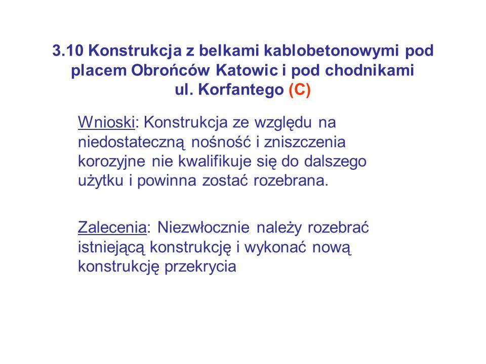 3.10 Konstrukcja z belkami kablobetonowymi pod placem Obrońców Katowic i pod chodnikami ul. Korfantego (C) Wnioski: Konstrukcja ze względu na niedosta