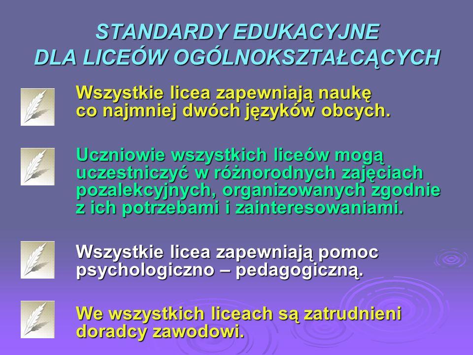 STANDARDY EDUKACYJNE DLA LICEÓW OGÓLNOKSZTAŁCĄCYCH Wszystkie licea zapewniają naukę co najmniej dwóch języków obcych. Uczniowie wszystkich liceów mogą
