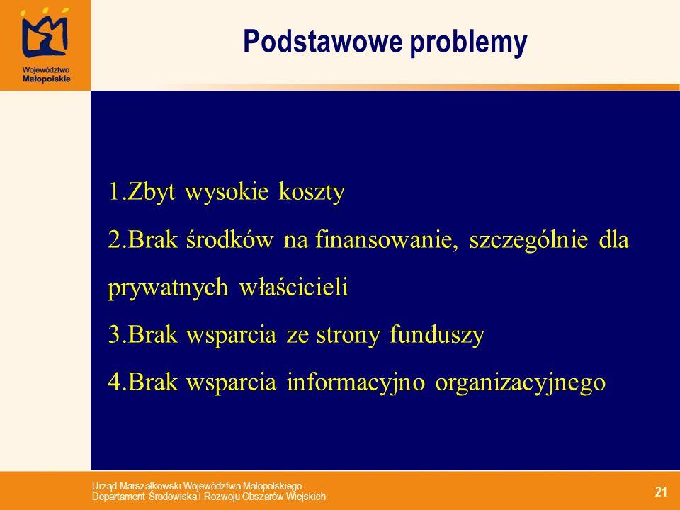 Urząd Marszałkowski Województwa Małopolskiego Departament Środowiska i Rozwoju Obszarów Wiejskich Podstawowe problemy 21 1.Zbyt wysokie koszty 2.Brak