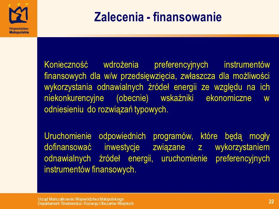 Urząd Marszałkowski Województwa Małopolskiego Departament Środowiska i Rozwoju Obszarów Wiejskich Zalecenia - finansowanie 22 Konieczność wdrożenia pr