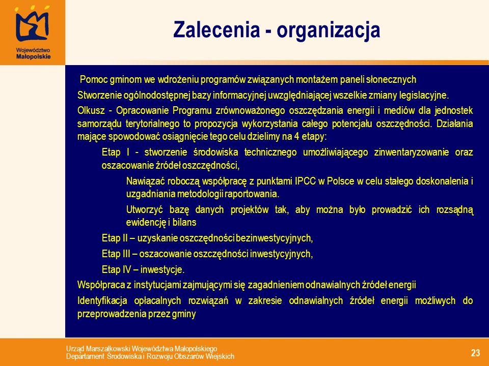 Urząd Marszałkowski Województwa Małopolskiego Departament Środowiska i Rozwoju Obszarów Wiejskich Zalecenia - organizacja 23 Pomoc gminom we wdrożeniu