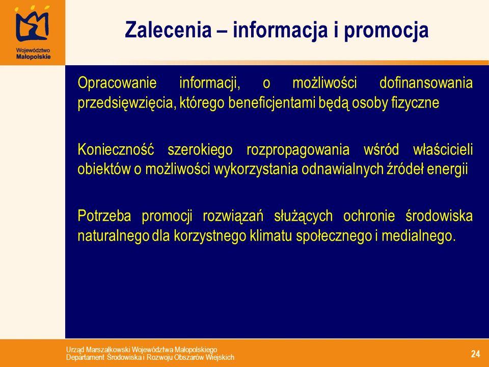 Urząd Marszałkowski Województwa Małopolskiego Departament Środowiska i Rozwoju Obszarów Wiejskich Zalecenia – informacja i promocja 24 Opracowanie inf