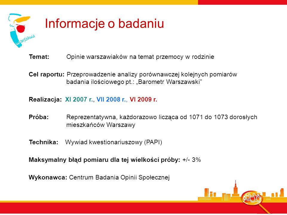 Informacje o badaniu Temat: Opinie warszawiaków na temat przemocy w rodzinie Cel raportu: Przeprowadzenie analizy porównawczej kolejnych pomiarów bada