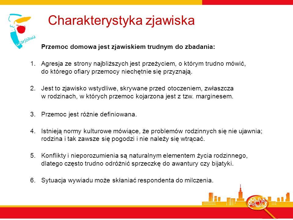 Interpretacja danych sondażowych Biorąc pod uwagę wszystkie ograniczenia związane z badaniem przemocy domowej, można przyjąć, że skala przemocy w Warszawie jest większa niż to wynika z deklaracji, a w szacowaniu rozmiaru zjawiska należy zachować dużą ostrożność.