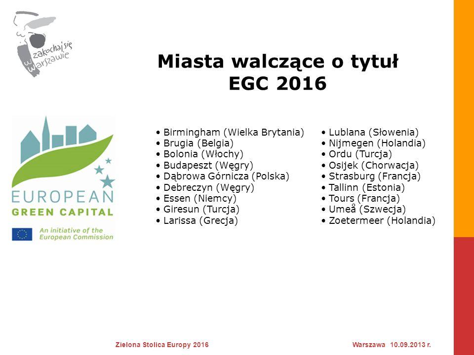 Miasta walczące o tytuł EGC 2016 Zielona Stolica Europy 2016Warszawa 10.09.2013 r. Birmingham (Wielka Brytania) Brugia (Belgia) Bolonia (Włochy) Budap