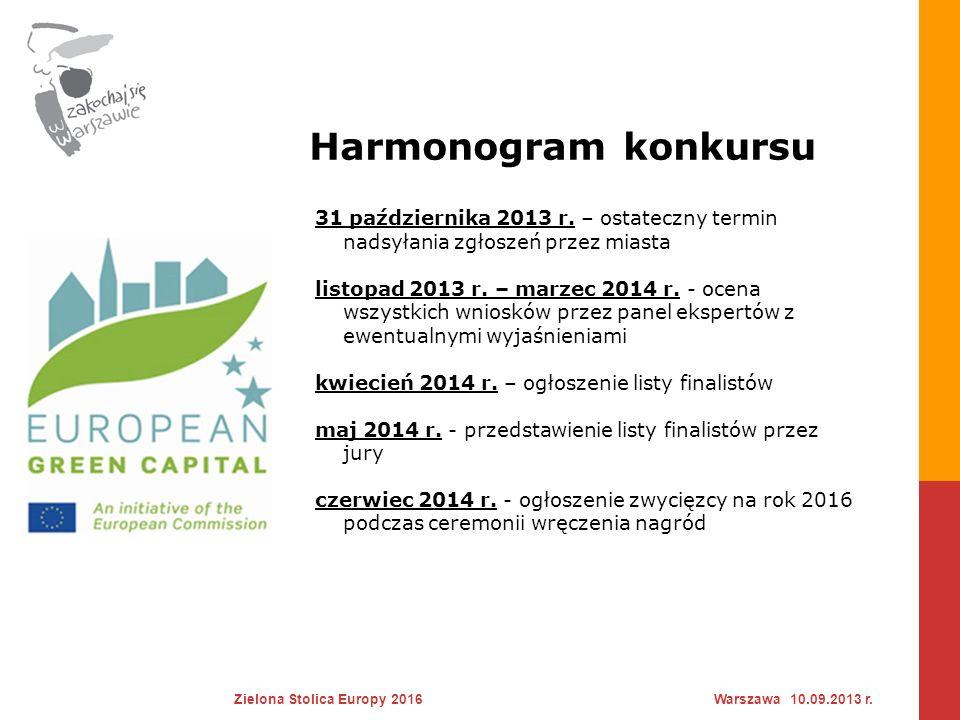 Harmonogram przygotowania aplikacji Zielona Stolica Europy 2016Warszawa 10.09.2013 r.