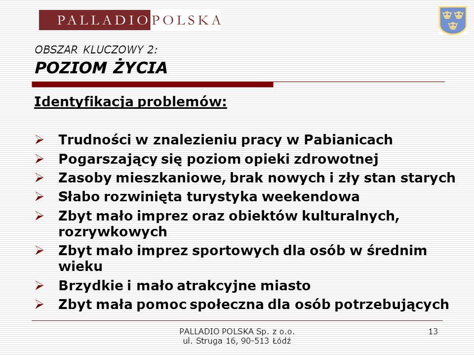 PALLADIO POLSKA Sp. z o.o. ul. Struga 16, 90-513 Łódź 13 OBSZAR KLUCZOWY 2: POZIOM ŻYCIA Identyfikacja problemów: Trudności w znalezieniu pracy w Pabi