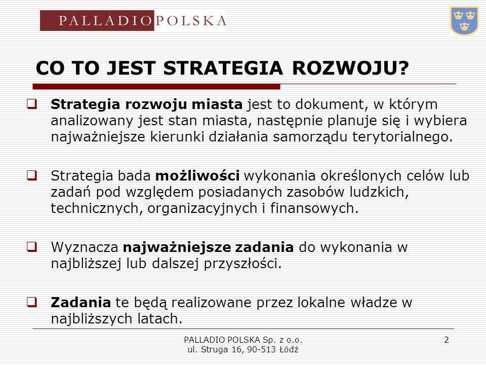 PALLADIO POLSKA Sp. z o.o. ul. Struga 16, 90-513 Łódź 2 CO TO JEST STRATEGIA ROZWOJU? Strategia rozwoju miasta jest to dokument, w którym analizowany