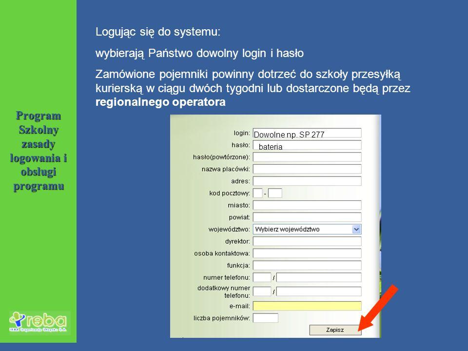 Dowolne np. SP 277 bateria Logując się do systemu: wybierają Państwo dowolny login i hasło Zamówione pojemniki powinny dotrzeć do szkoły przesyłką kur