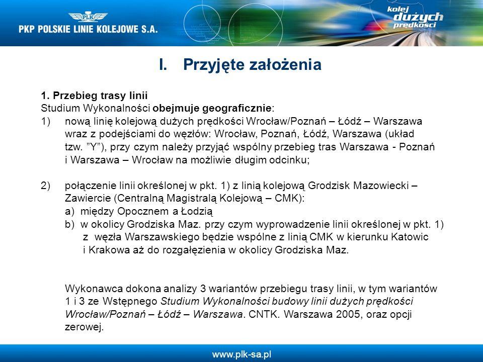 www.plk-sa.pl 1. Przebieg trasy linii Studium Wykonalności obejmuje geograficznie: 1)nową linię kolejową dużych prędkości Wrocław/Poznań – Łódź – Wars