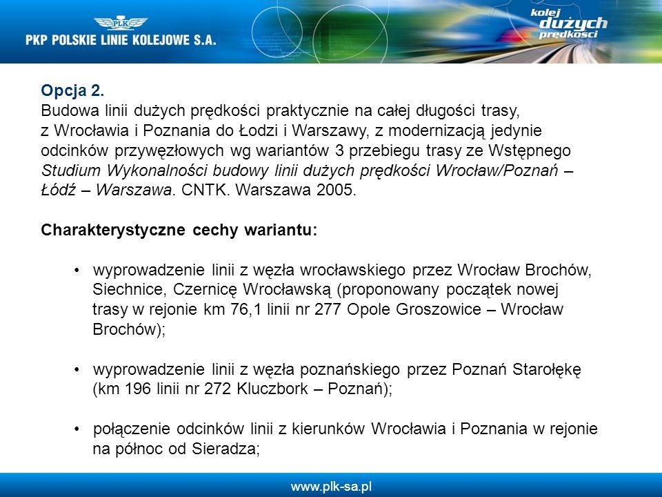 Opcja 2. Budowa linii dużych prędkości praktycznie na całej długości trasy, z Wrocławia i Poznania do Łodzi i Warszawy, z modernizacją jedynie odcinkó