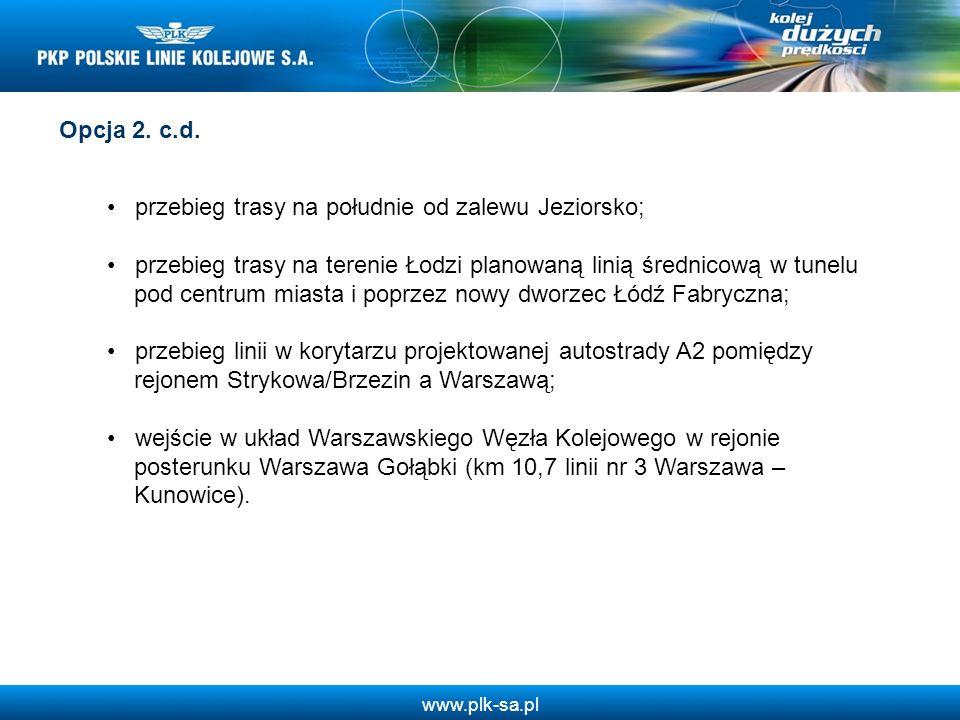 www.plk-sa.pl Opcja 2. c.d. przebieg trasy na południe od zalewu Jeziorsko; przebieg trasy na terenie Łodzi planowaną linią średnicową w tunelu pod ce
