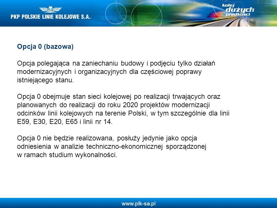 www.plk-sa.pl Opcja 0 (bazowa) Opcja polegająca na zaniechaniu budowy i podjęciu tylko działań modernizacyjnych i organizacyjnych dla częściowej popra