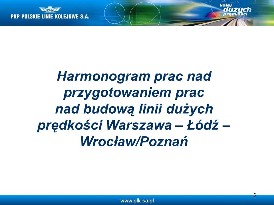 www.plk-sa.pl 2 Harmonogram prac nad przygotowaniem prac nad budową linii dużych prędkości Warszawa – Łódź – Wrocław/Poznań