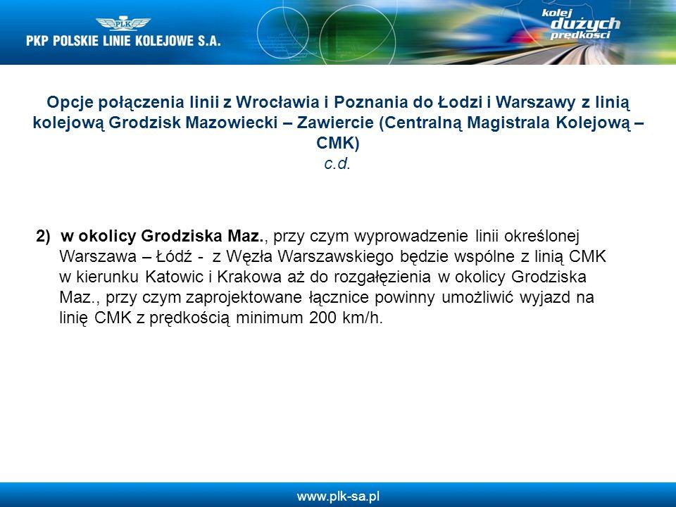 Opcje połączenia linii z Wrocławia i Poznania do Łodzi i Warszawy z linią kolejową Grodzisk Mazowiecki – Zawiercie (Centralną Magistrala Kolejową – CM