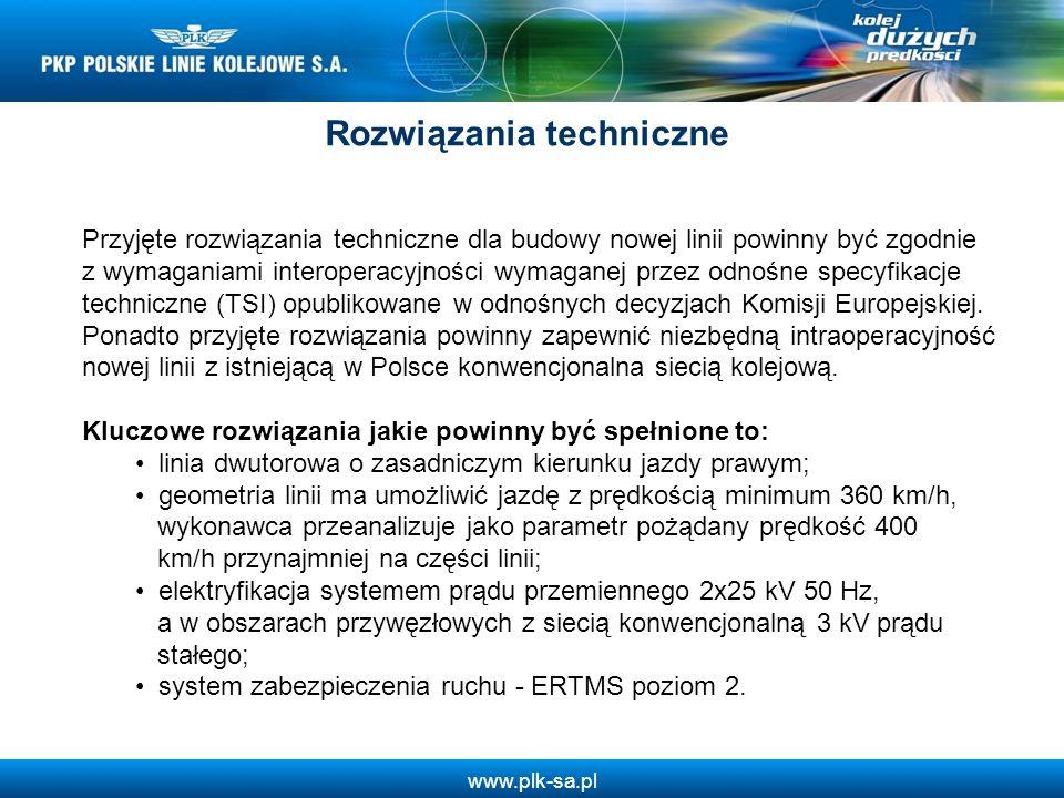 www.plk-sa.pl Przyjęte rozwiązania techniczne dla budowy nowej linii powinny być zgodnie z wymaganiami interoperacyjności wymaganej przez odnośne spec