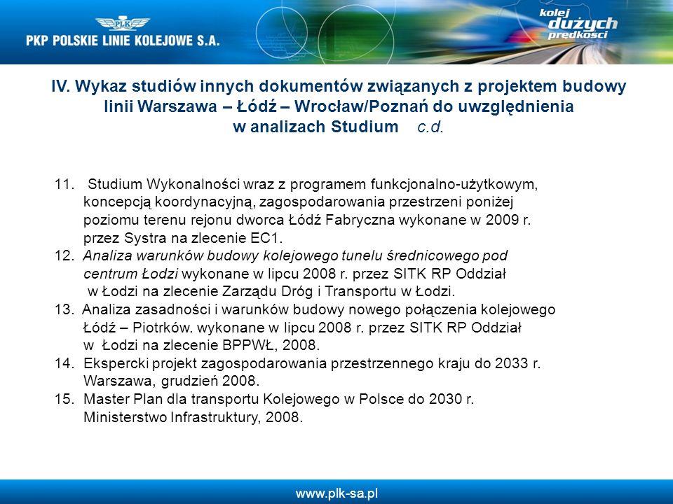www.plk-sa.pl IV. Wykaz studiów innych dokumentów związanych z projektem budowy linii Warszawa – Łódź – Wrocław/Poznań do uwzględnienia w analizach St