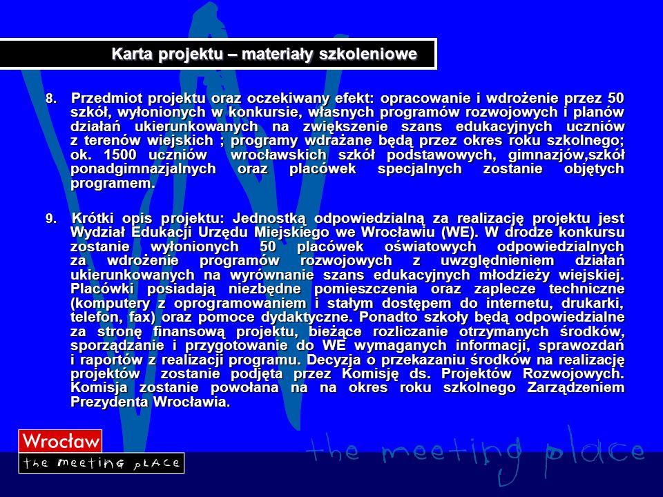 Karta projektu – materiały szkoleniowe 10.Projektodawca: Gmina Wrocław 11.