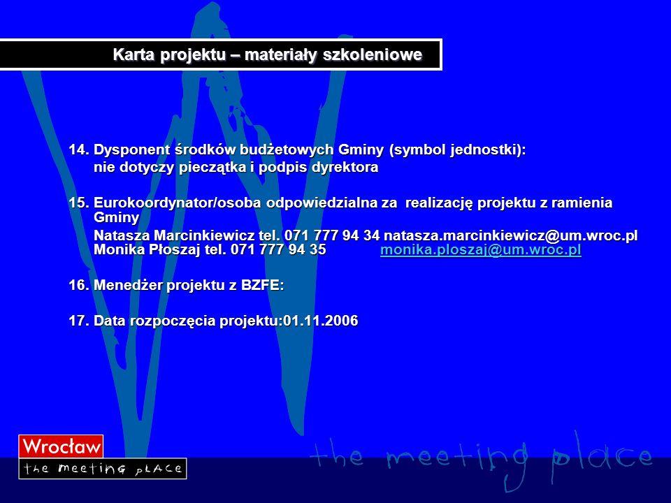 Karta projektu – materiały szkoleniowe 18.Data zakończenia 31.03.2008 19.
